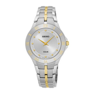 Seiko® Recraft Womens Two-Tone Stainless Steel Solar Bracelet Watch