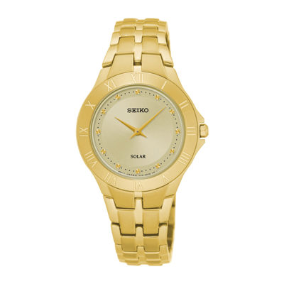 Seiko® Recraft Womens Gold-Tone Champagne Solar Bracelet Watch