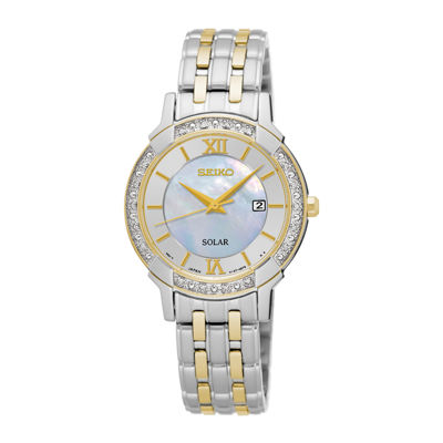 Seiko® Womens Crystal-Accent Two-Tone Mother-of-Pearl Solar Bracelet Watch SUT278