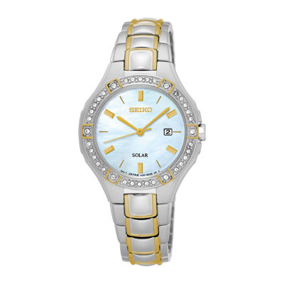 Seiko® Ladies 2 Tone Crystal Accent Bracelet Watch