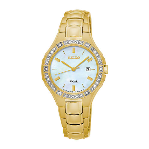 Seiko® Womens Crystal-Accent Gold-Tone Mother-of-Pearl Solar Bracelet Watch SUT284