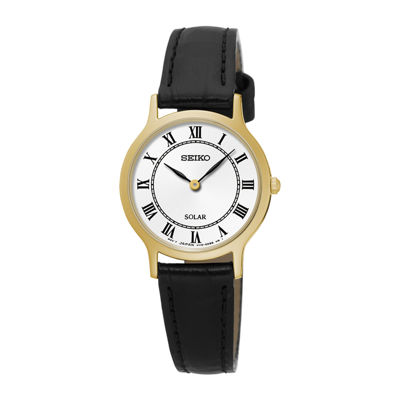 Seiko® Womens Gold-Tone Black Leather Solar Watch SUP304