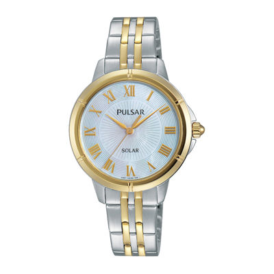 Pulsar® Womens Two-Tone Mother-of-Pearl Solar Bracelet Watch
