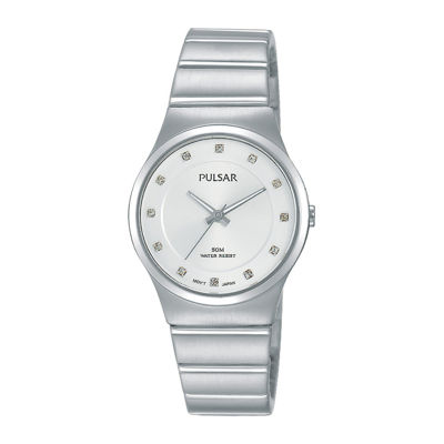 Pulsar® Women's Crystal-Accent Silver-Tone Black Bracelet Watch
