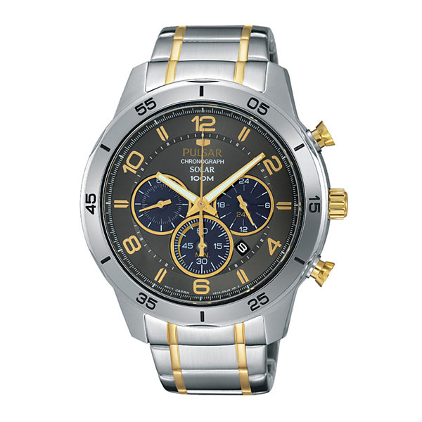 Pulsar® Mens Two-Tone Chronograph Solar Watch