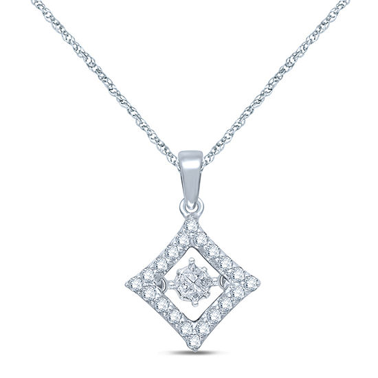 1/4 CT. T.W. Diamond 10K White Gold Pendant Necklace