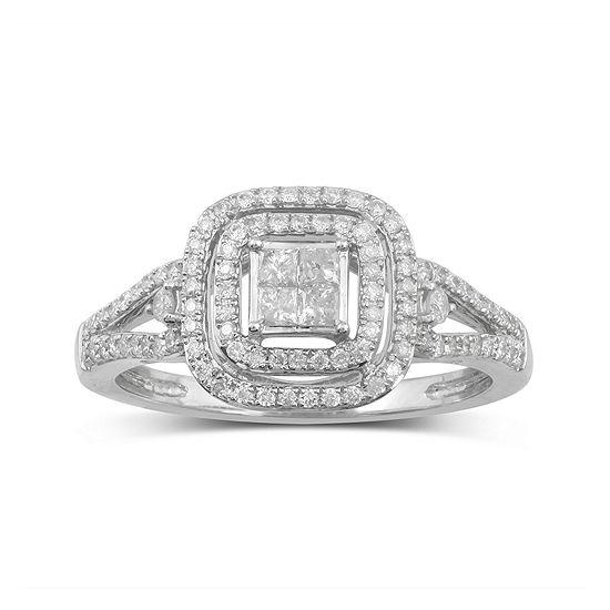 1/2 CT. T.W. Genuine Diamond 10K White Gold Bridal Ring