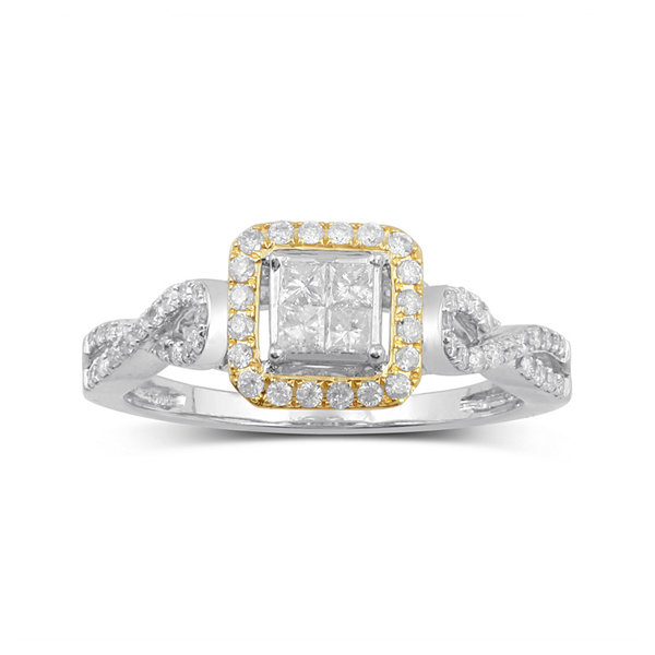1/2 CT. T.W. Diamond 10K Two-Tone Gold Multi Top Bridal Ring