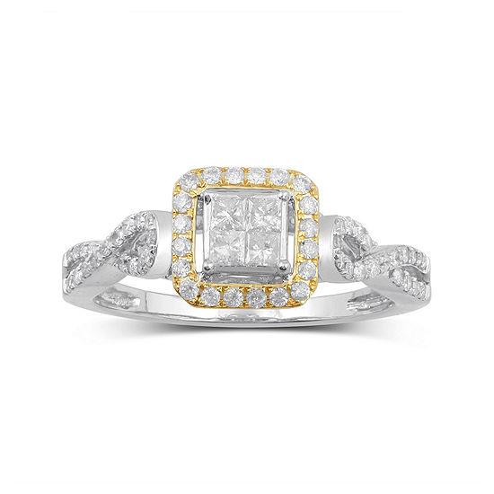 1/2 CT. T.W. Diamond 10K Two-Tone Gold Multi Top Bridal Ring