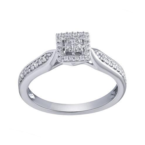 1/4 CT. T.W. Diamond 10K White Gold Promise Ring