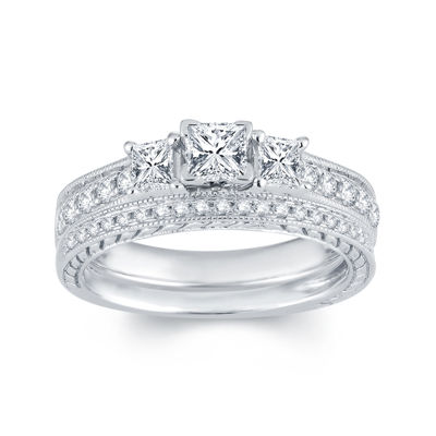 1 CT. T.W. Diamond 14K White Gold 3-Stone Bridal Ring Set
