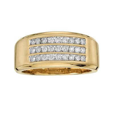 Mens 1/2 CT. T.W. Diamond 10K Yellow Gold Triple Row Ring