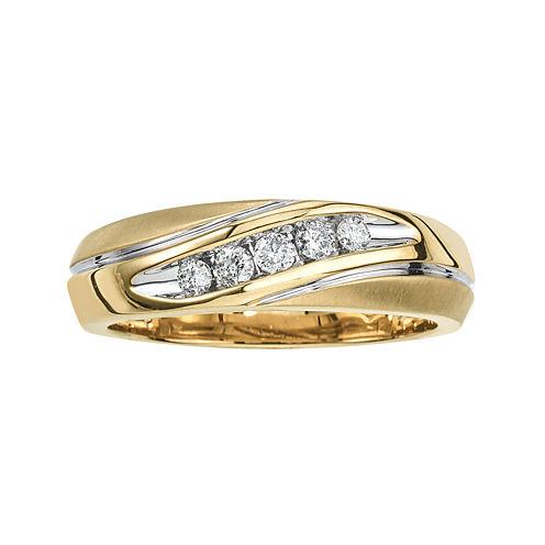 Mens 1/4 CT. T.W. Diamond 10K Yellow Gold 5-Stone Diagonal Ring