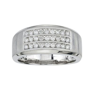 Mens 1/2 CT. T.W. Diamond 10K White Gold Diamond Band