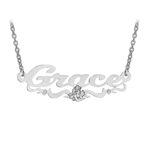 Disney Collection Personalized Girls Ariel Name Necklace