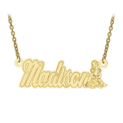 Disney Collection Personalized Girls Snow White Name Necklace