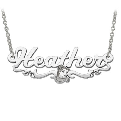Disney Personalized Belle 34x13mm Name Necklace
