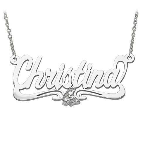 Disney Personalized Sleeping Beauty 41x18mm Name Necklace