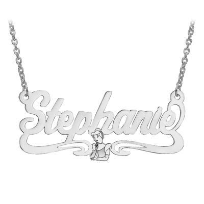 Disney Personalized Cinderella 18x39mm Name Necklace