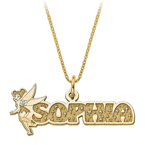 Disney Personalized Tinker Bell 30x31mm Name Necklace
