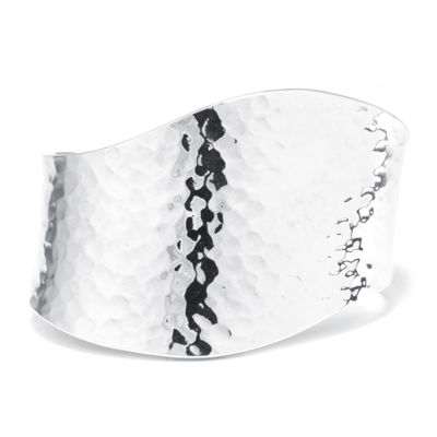 Sterling Silver Hammered Wave Cuff Bracelet