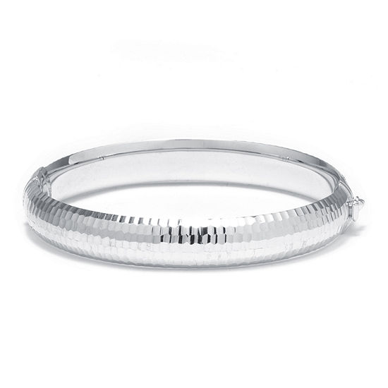 Sterling Silver Diamond-Cut Hinged Bangle Bracelet