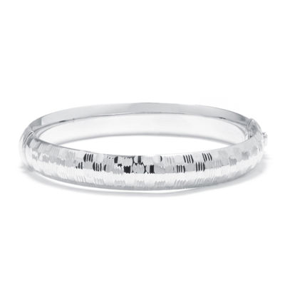Sterling Silver Diamond-Cut Dotted Hinged Bangle Bracelet