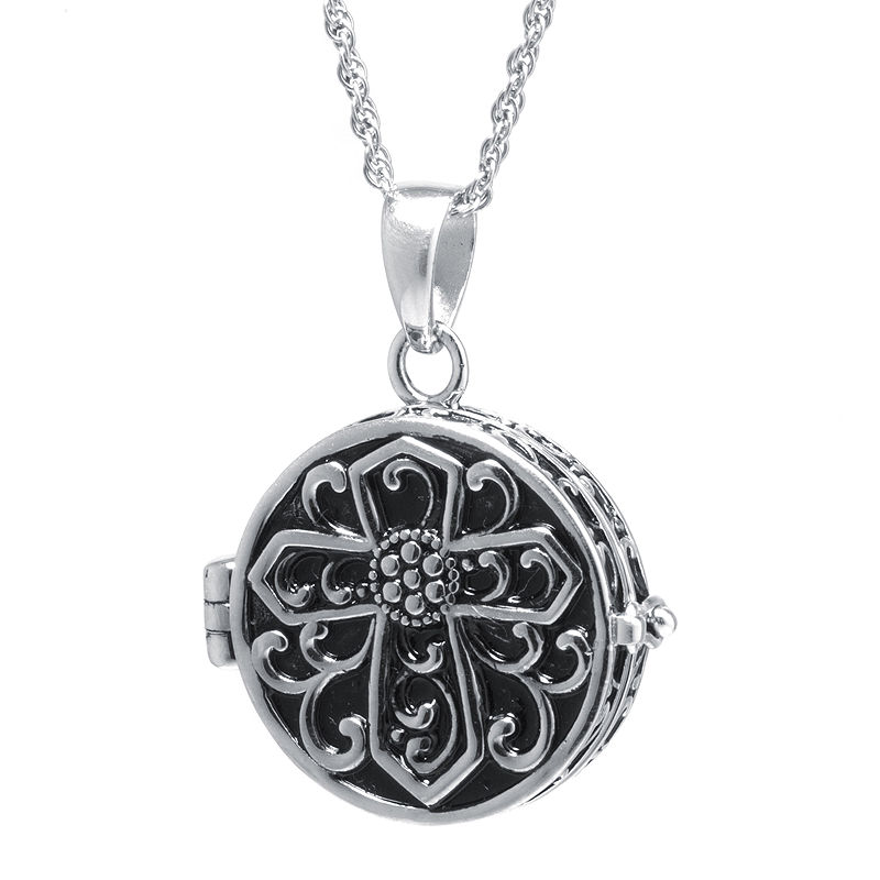 Sterling Silver Vintage-Inspired Cross Prayer Box Pendant Necklace