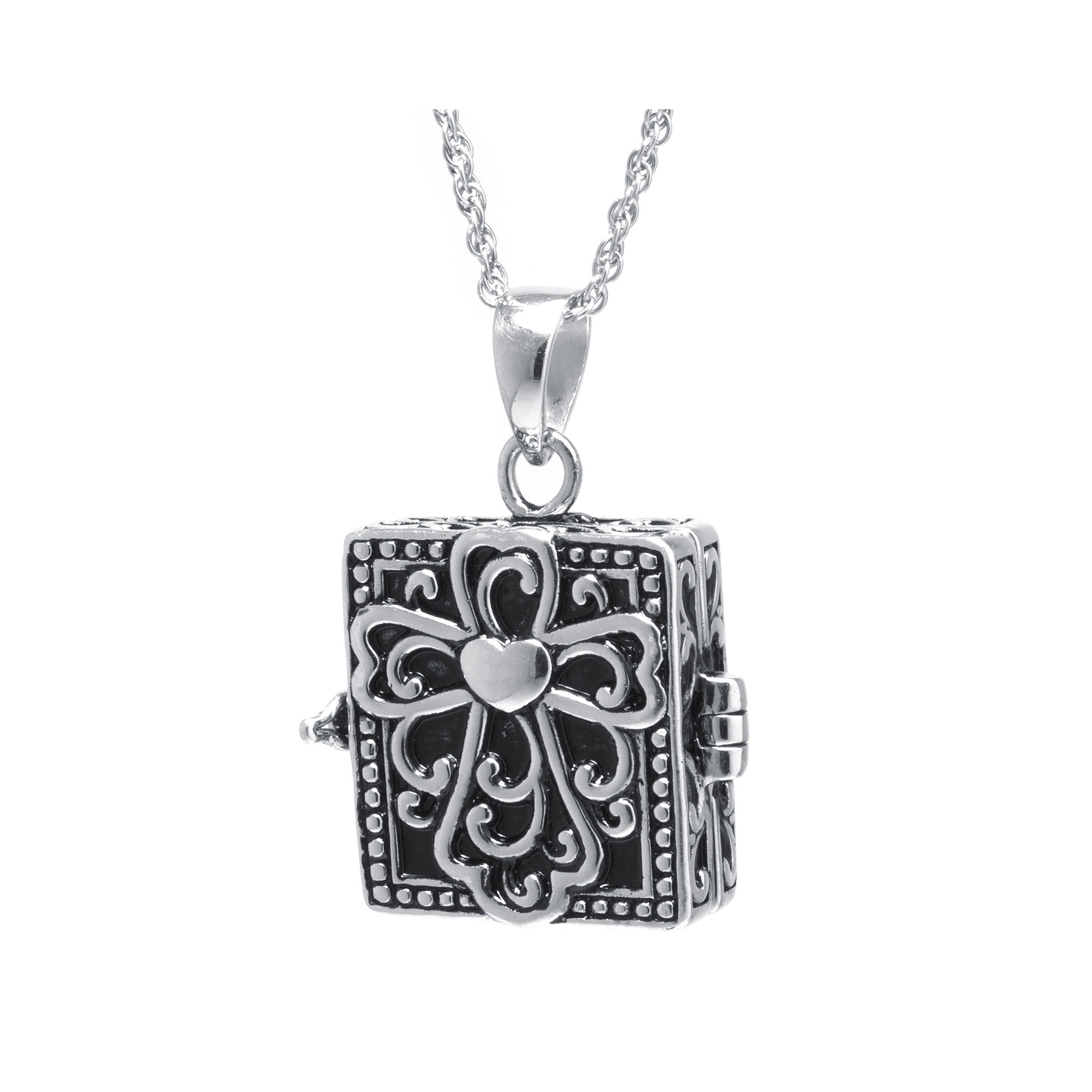 Sterling Silver Vintage Square Cross Prayer Box Pendant Necklace plus size,  plus size fashion plus size appare