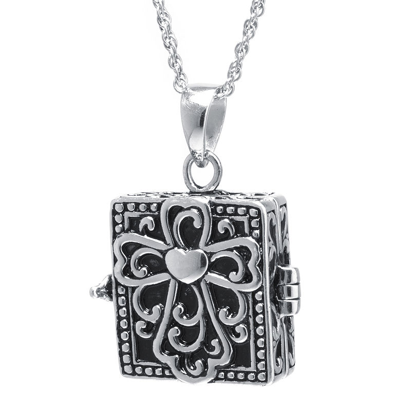 Sterling Silver Vintage Square Cross Prayer Box Pendant Necklace