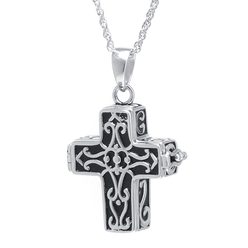 Sterling Silver Vintage Cross Prayer Pendant Necklace