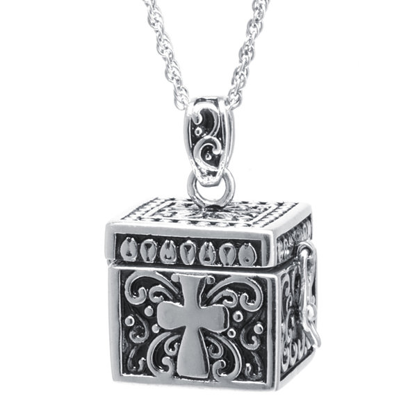 Sterling Silver Square Cross Prayer Box Pendant Necklace