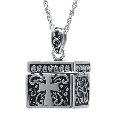 Sterling Silver Square Cross Prayer Box Pendant Necklace