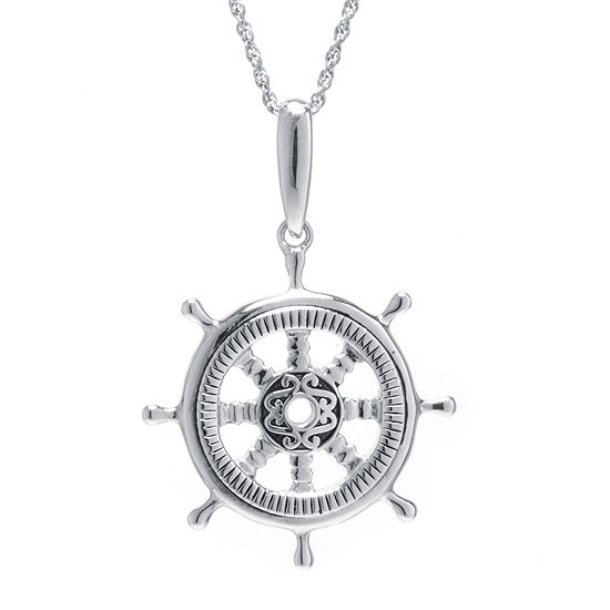 Sterling Silver Ship Wheel Pendant Necklace