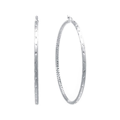 Sterling Silver Diamond-Cut Hinged Hoop Earrings