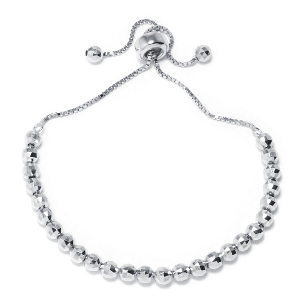Sterling Silver Diamond-Cut Bead Adjustable Bracelet