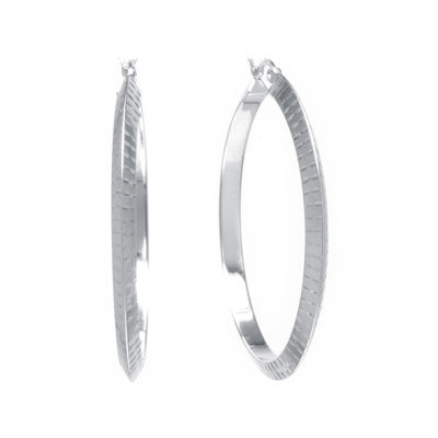Sterling Silver Diamond-Cut 42mm Hoop Earrings