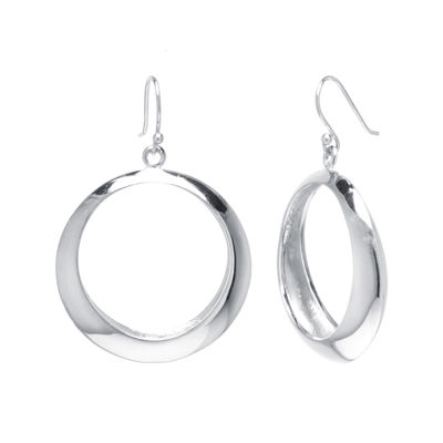 Sterling Silver Open Circle Drop Earrings