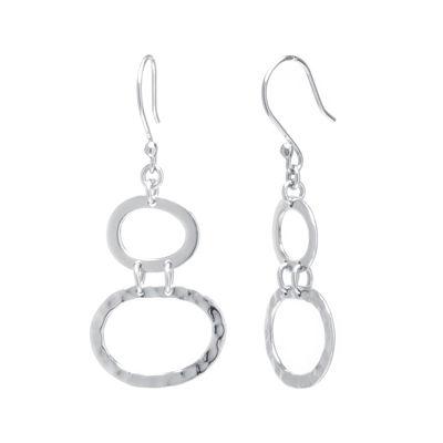 Sterling Silver Double Oval Drop Earrings