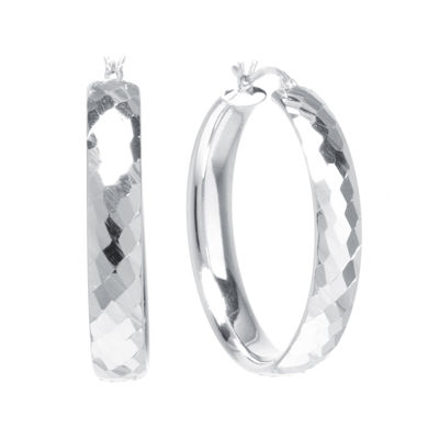 Sterling Silver Diamond-Cut 35MM Hoop Earrings