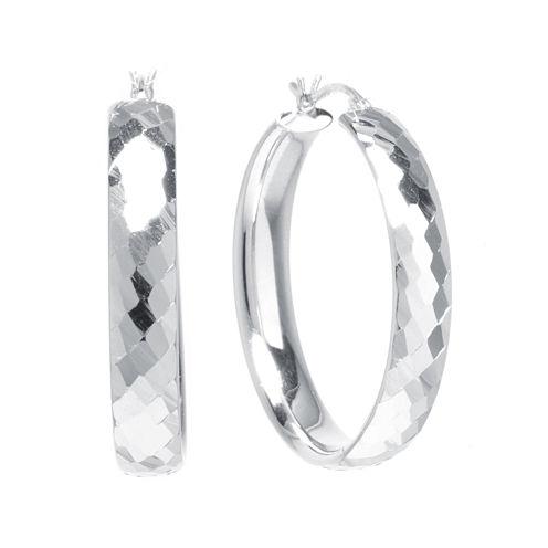 Sterling Silver Diamond-Cut 35MM Hoop Earrings
