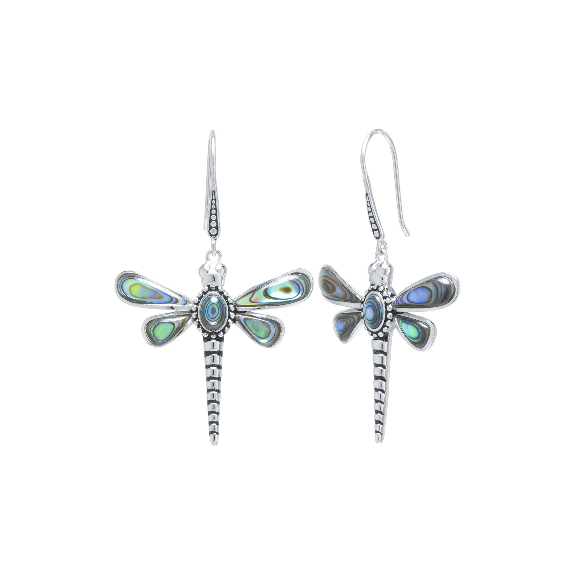 Genuine Abalone Sterling Silver Dragonfly Drop Earrings