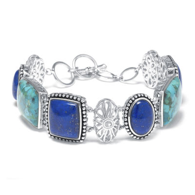 Genuine Blue Lapis and Synthetic Turquoise Sterling Silver Bracelet