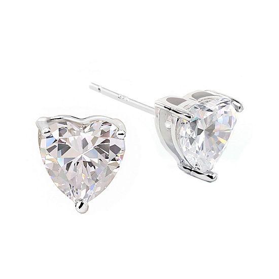 DiamonArt® Sterling Silver Heart Cubic Zirconia Stud Earrings
