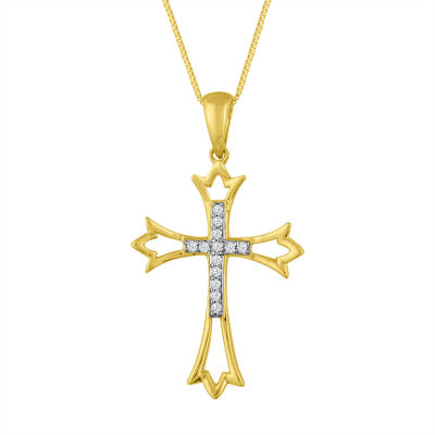 Women's Diamond Accent 10K Gold Cross Pendant Necklace