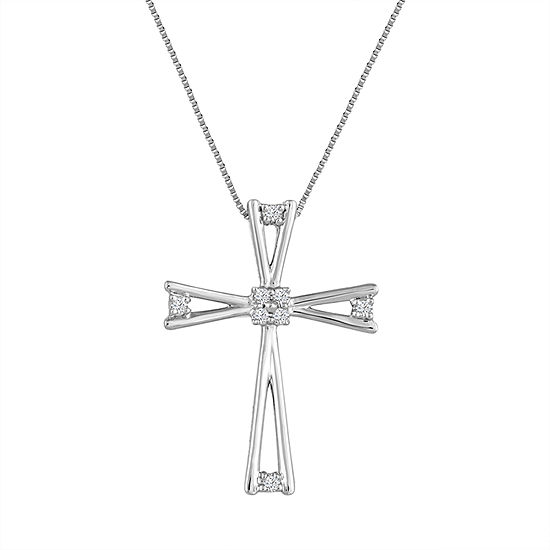 Womens Diamond Accent 10K White Gold Pendant Necklace