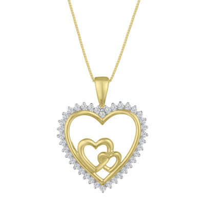 Womens 1/4 CT. T.W. Genuine White Diamond 10K Gold Heart Pendant Necklace