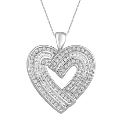 Womens 3/4 CT. T.W. Genuine White Diamond 10K Gold Heart Pendant Necklace