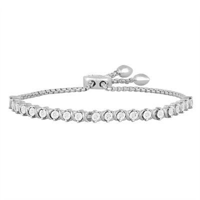 Rhythm & Muse 1/10 CT. T.W. Genuine White Diamond Sterling Silver Bolo Bracelet