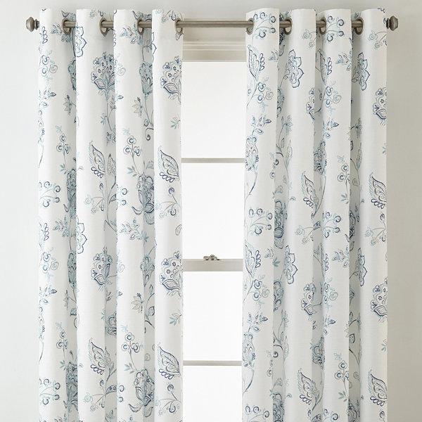 JCPenney Home Quinn Jacobean Grommet-Top Curtain Panel - JCPenney